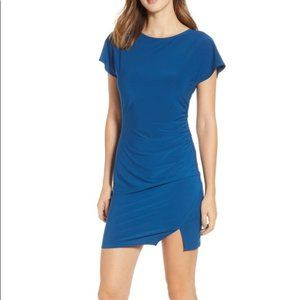 NWT Leith Ruched Minidress Small Blue Poseidon